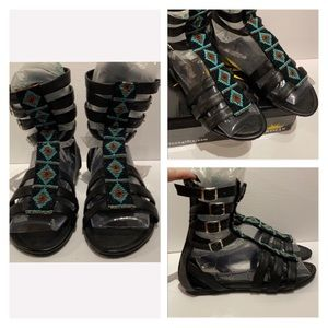 (8) Black Beaded Gladiator Shoes -  never worn!!!